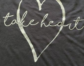 Take Heart Ladies Long Sleeve Custom Slouchy Shirt
