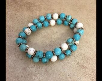 Vintage look  turquoise & white bracelet .