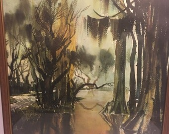 Vintage 1960's F H Wagner Painting, Green Brown Swamp Painting Watercolor Greens Yellows Browns Framed