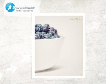 "Food Fine Art Photo, Food Wall Art, Kitchen Decor, Food Photography, Modern Food Photo, Minimal Food Photo - ""Blueberries in a bowl No. 3"""