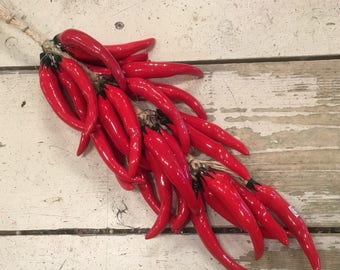 Red Chili Pepper String / Chili Peppers / Hanging  Red Chili Peppers / Ceramic Peppers / Red Chilis / String Peppers