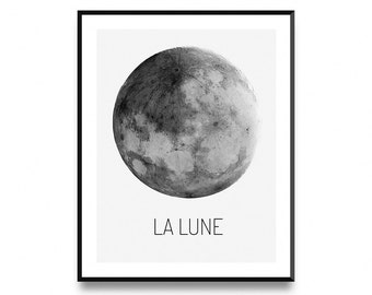 Moon phase print lunar phases print moon poster moon