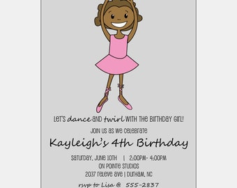 African American Birthday Party | Ballet Recital Announcement | African American Party Invitation | African American Ballerina