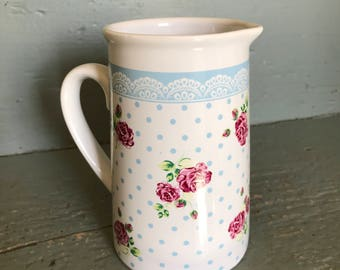 Vintage Rose and Polka-dot Pitcher