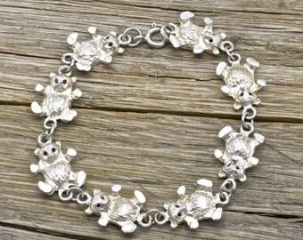 Vintage Sterling Silver Teddy Bear Charm Bracelet 925 Jewelry