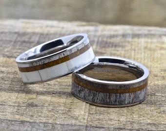 Titanium Deer Antler Ring With Hawaiian Koa Wood, 8mm Comfort Fit Wedding Band