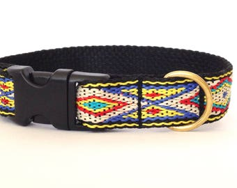 Dog collar: woven tan, yellow, blue, black and red with Native American pattern