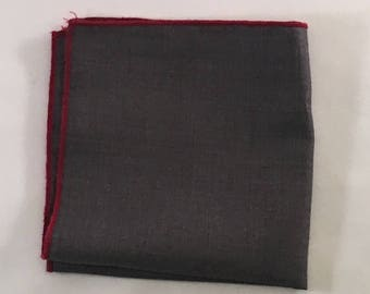 Grey pocket square with red trim