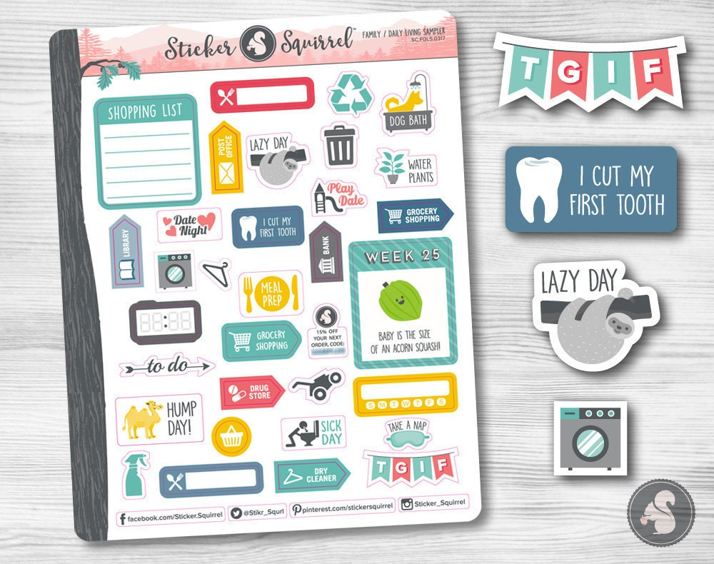 Sampler Planner Stickers Family Daily Living discounted – Sample Planning Calendar