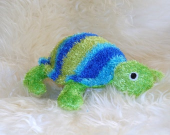 Sea Turtle Tortoise Green blue Stuffed Animal Hand Stitched Sock Critter stuffy cuddly toy fuzzy TMNT reptile lovie