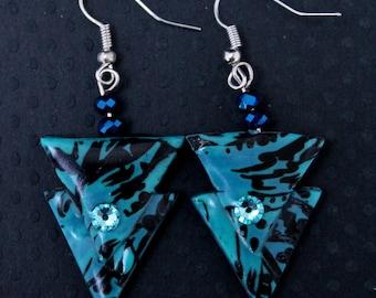 Geometric earrings blue and black, triangle