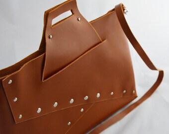 Leather handbag, Brown shoulder bag, A4. Origami, Handmade messenger bag