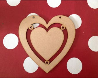 10 x Large Wooden Heart Craft Shapes