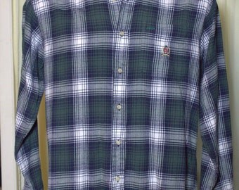 Vintage Retro Men's Tommy Hilfiger Long Sleeve Plaid Board Shirt 100% Cotton Size XL