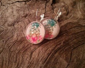 "Earring ""Ra'anana"" ""floral"" ""tropical"" 16 mm, cabochon, Sleepyhead, hypoallergenic"