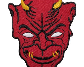 Devil Embroidered Iron / Sew On Patch Motorbike Jacket Embroidery Applique Badge