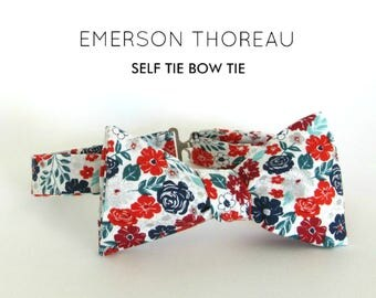 White Red Teal and Navy Blue Floral Bow Tie / Self Tie Flower Print Silver Green Mint Burgundy Cotton Spring Summer Wedding Groomsmen Bowtie