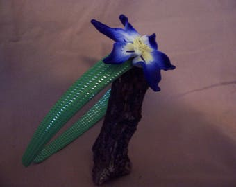 Fanciful blue flower headband