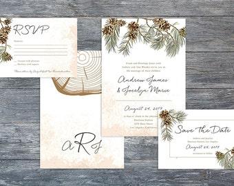 Customizable Template Woodsy Rustic Winter Pine Woodgrain Wedding Invitation Suite