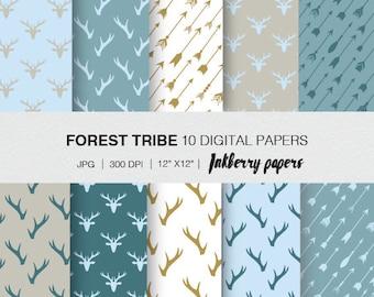Digital paper-forest tribe/ instant download/ digital tribe paper/ hand made/ craft paper/ digital paper pack/ digital arrows download