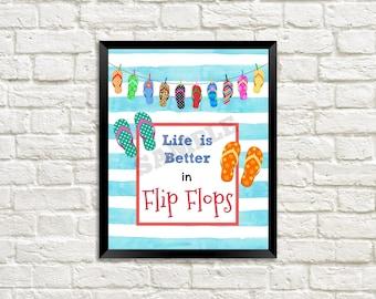 Flip Flop Summer Watercolor Print, Wall Print, Art Print, Wall Art, Home Decor, Wall Decor, Summer Art