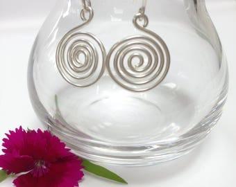 Sterling Silver Spiral Earrings, Silver Earrings, Statement Earrings, Drop Earrings, Dangly Earrings, Dangle Earrings, Swirls, Gift for Her