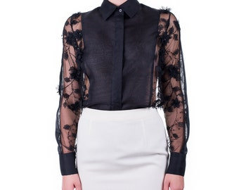 Shirt in silk organza and hand-embroidered lace, handmade PIECE size (it 42 - eu 38 - uk 10 - us 6) PROMOTIONAL PRICE