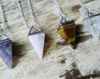 Gemstone Pendulum pendants - divination jewellery dowsing pendant crystal gemstones witch wiccan pagan spirituality yoga