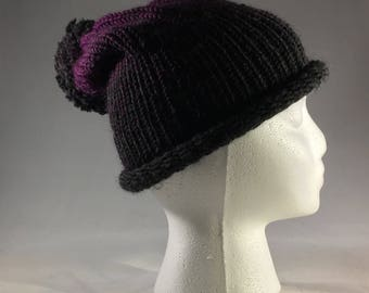 Grey to purple rolled edge hat
