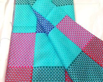 11. Turquoise, Navy, Red 70 x 23 Multicolor Head wrap; African Clothing; African Fabric Headwrap; African Scarf; Fabric Headwrap: Head tie