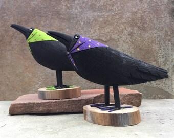 native american,navajo,2 CROWS FOR JOY,native,native american art,folk art,Native American Folk Art,Ray Lansing Navajo Folk Art Crow Statue