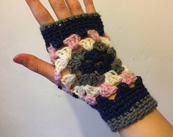 Handmade crocheted fingerless mitts