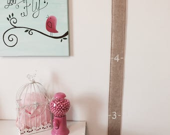 Fabric Growth Chart/Tracker with Pins and Tags: SIMPLE BURLAP | Baby Shower Gift | Family Keepsake | Portable | Mothers Day Gift | Home Deco
