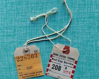 NYC Vintage Luggage Tags from the 1950s! Tags from Grand Central Terminal & New York Central System. Ephemera - Design - Style - Travel