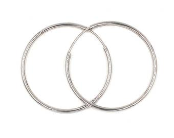 1,38inch diameter 14k white gold hoop earings