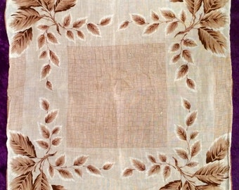 Ladies Handkerchief - Cotton with Rolled Hem 1970's