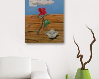 Rosse under the sky, Original art, Oil painting, On canvas, Contemporary, Sourealistic, Asteriouart, decoration, art painting