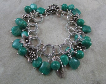 Handmade Russian amazonite and sterling silver bracelet