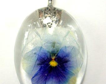 Purple & Blue Pansy Necklace, botanical jewelry, real flower jewelry, resin jewelry, pressed flower, dried flower necklace, flower necklace