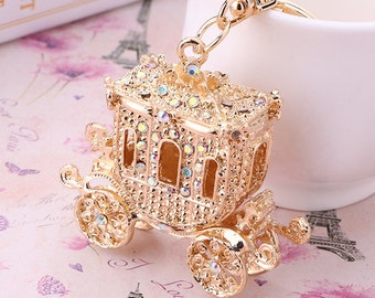 Royal Carriage Keyring Diamante Rhinestone Charm Chain Ladies Bling Handbag