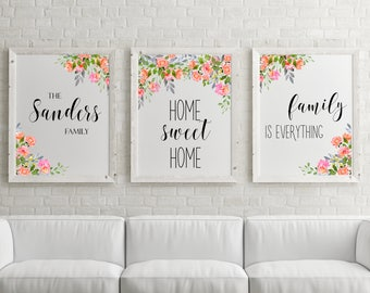 Set of 3 prints Set of 3 wall art Personalized family name Custom family name Printable set Home decor Watercolor flowers Floral wall art