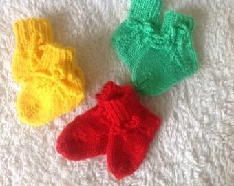 First socks, baby socks, baby socks hand-knitted