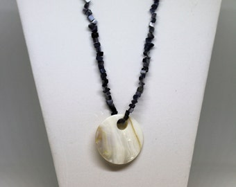 Handmade Gray Chip Beaded Necklace with Cream Go-Go Pendant Perfect Jewelry for Work