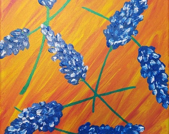 Abstract Bluebonnets on Fiery Background