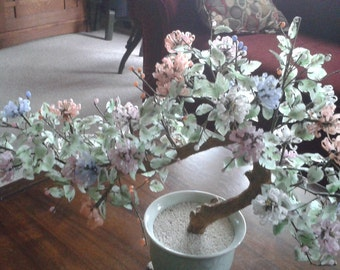 Vintage Japanese Jade Tree with Jade or Serpentine Hand Carved Flowers
