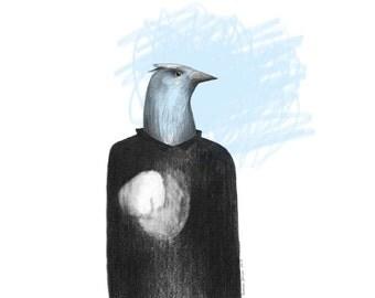 Bird Portrait Blue Poster