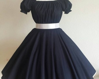 Rockabilly 50s prom dress with satin taffeta prom dance dress dark blue