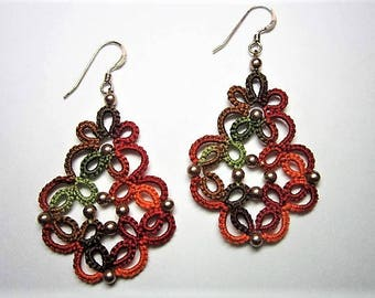 Variegated Autumnal Lace Earrings, Autumnal Earrings, Tatted Earrings, Tatted Lace Jewelry, Beaded Lace, Lace Earrings, Lace Jewelry