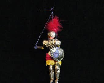 Vintage Wood and Metal Italian Knight and Shining Armor Marionette Puppet Doll
