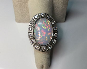 Estate Platinum 13.26 CTW Natural Australian Opal & Diamond Cocktail Ring